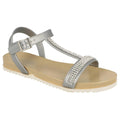 Silver - Side - Spot On Womens-Ladies Mid T Bar Diamante Trim Sandals