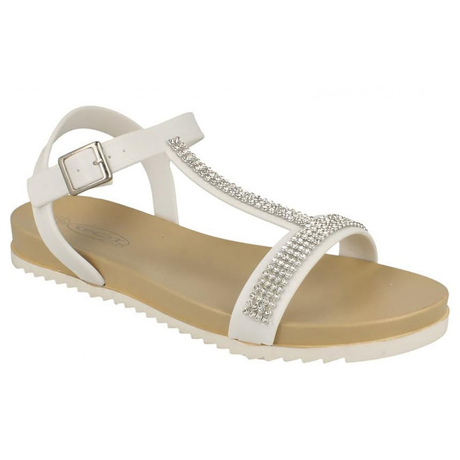 White - Side - Spot On Womens-Ladies Mid T Bar Diamante Trim Sandals