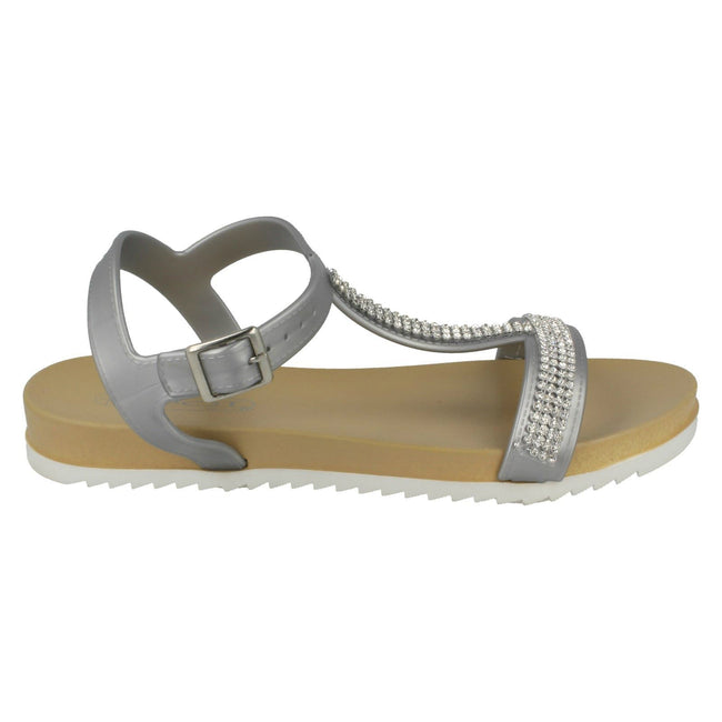 Silver - Back - Spot On Womens-Ladies Mid T Bar Diamante Trim Sandals
