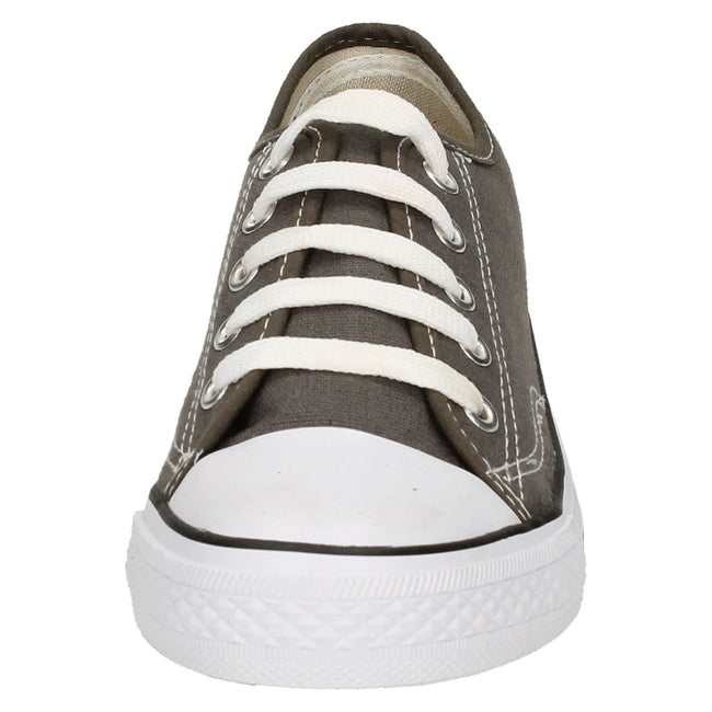 Grey - Front - Spot On Mens Low Cut Canvas Lace Up Shoes