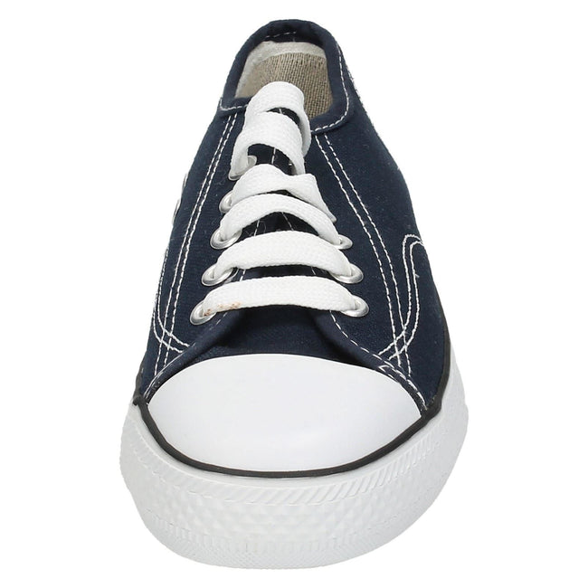 Navy - Front - Spot On Mens Low Cut Canvas Lace Up Shoes