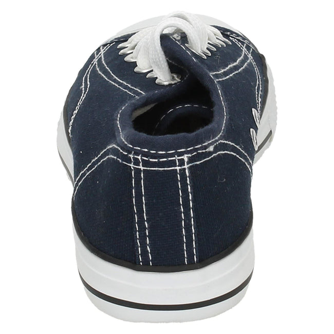 Navy - Back - Spot On Mens Low Cut Canvas Lace Up Shoes