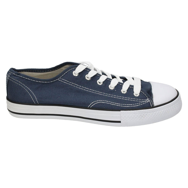 Navy - Side - Spot On Mens Low Cut Canvas Lace Up Shoes
