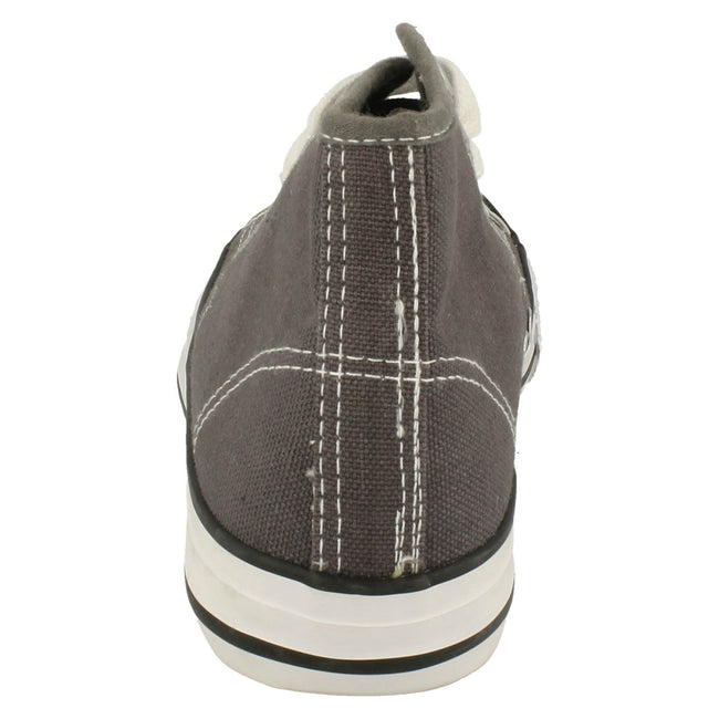 Grey - Back - Spot On Childrens Boys Canvas Baseball Boots