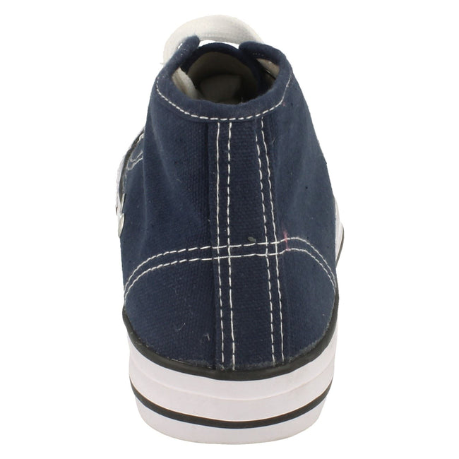 Navy - Back - Spot On Childrens Boys Canvas Baseball Boots