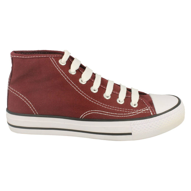 Burgundy - Lifestyle - Spot On Childrens Boys Canvas Baseball Boots