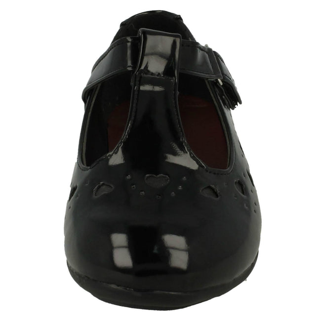 Black Patent - Front - Spot On Childrens Girls Heart Detail T-Bar School Shoes