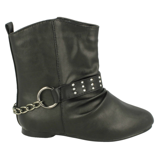Black - Side - Spot On Childrens Girls Chain Strap Flat Ankle Boots