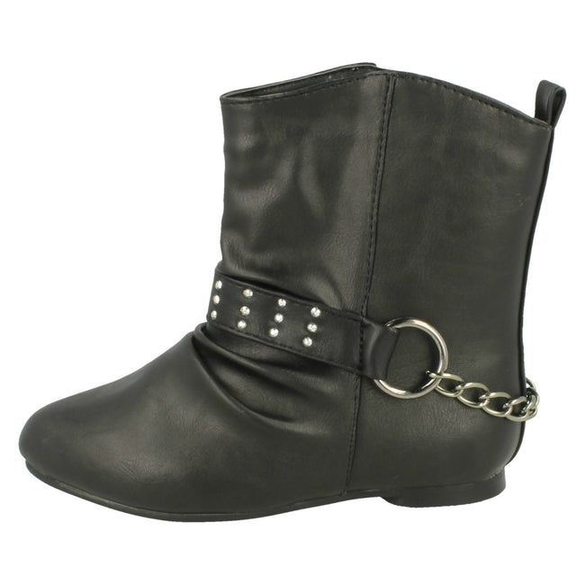 Black - Lifestyle - Spot On Childrens Girls Chain Strap Flat Ankle Boots