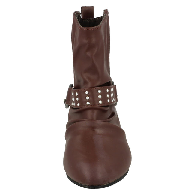 Burgundy - Front - Spot On Childrens Girls Chain Strap Flat Ankle Boots