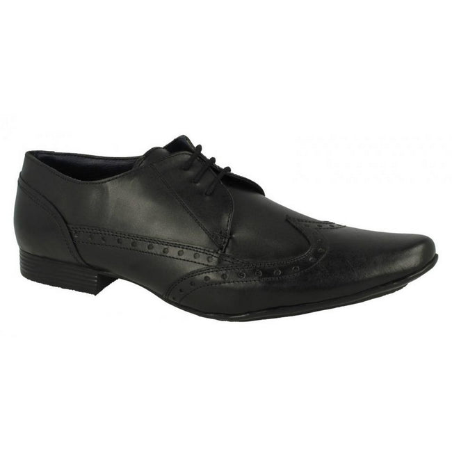 Black - Front - Mens Lambretta Formal Lace Up Brogue Shoes Bradley