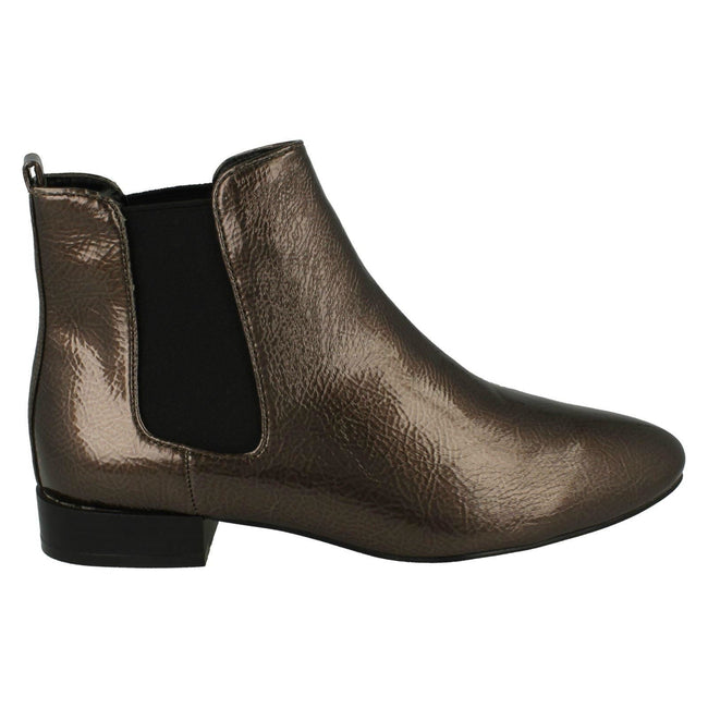 Grey - Side - Spot On Womens-Ladies Slip On Ankle Boots