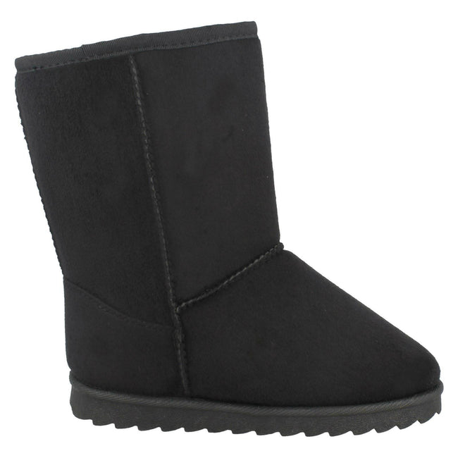 Black - Side - Spot On Girls Mid Leg Fleece Lined Boots
