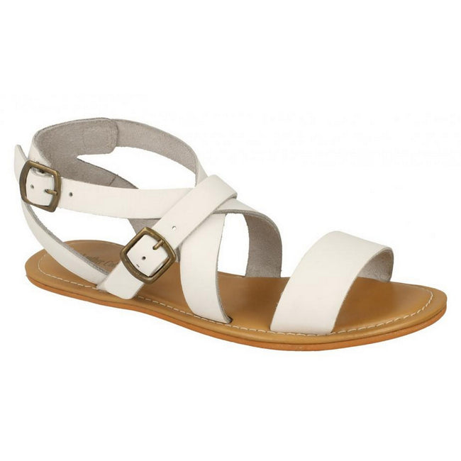 White Leather - Front - Leather Collection Womens-Ladies Summer Strappy Sandals