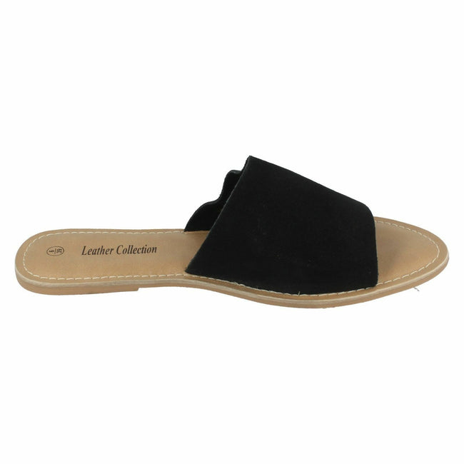 Black Suede - Back - Leather Collection Womens-Ladies Flat Mule Sandals
