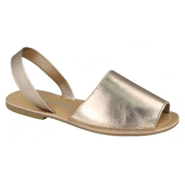 Dull Gold Leather - Front - Leather Collection Womens-Ladies  Slingback Mule Sandals