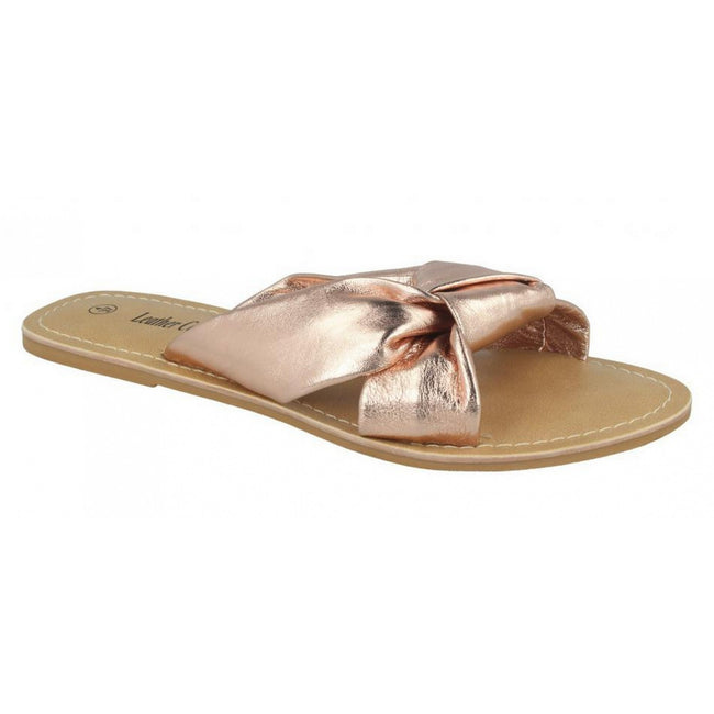 Rose Gold Leather - Front - Leather Collection Womens-Ladies Knot Vamp Mule Sandals