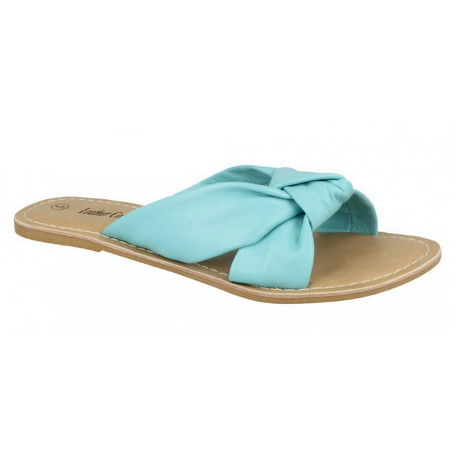Turquoise Leather - Front - Leather Collection Womens-Ladies Knot Vamp Mule Sandals