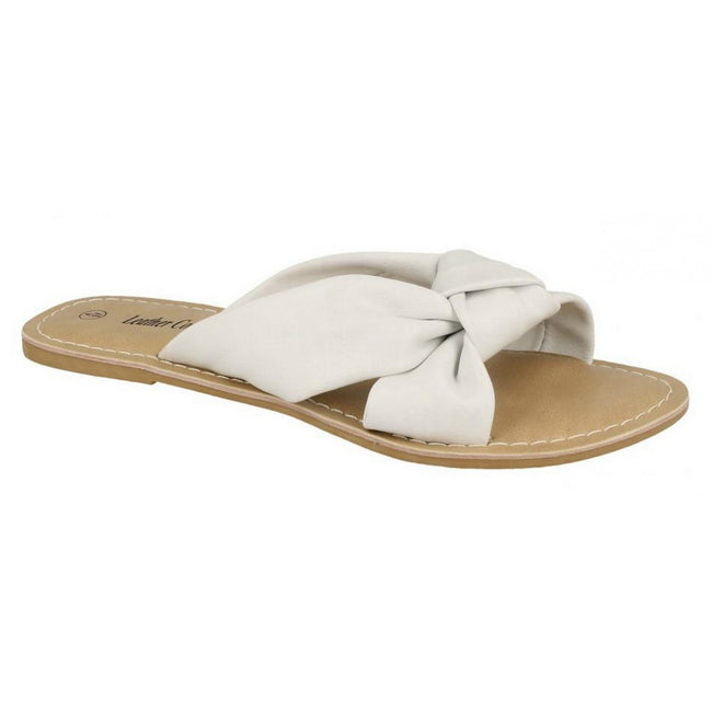 White Leather - Front - Leather Collection Womens-Ladies Knot Vamp Mule Sandals