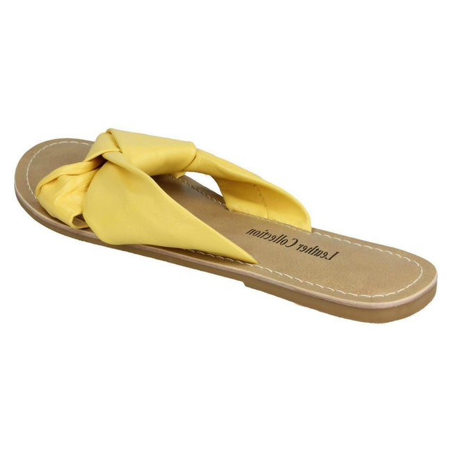 Yellow Leather - Back - Leather Collection Womens-Ladies Knot Vamp Mule Sandals