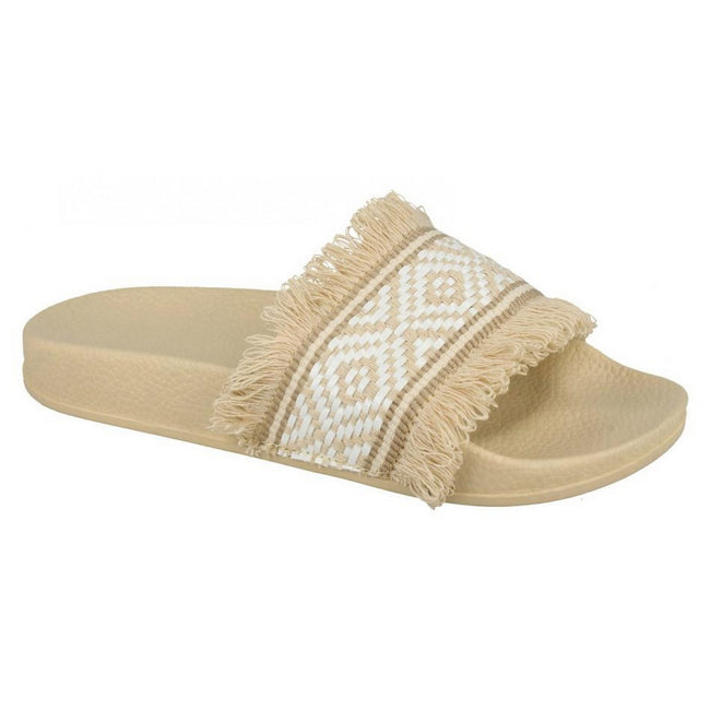 Beige-White Synthetic - Lifestyle - Spot On Womens-Ladies Flat Fringe Trim Mule Sliders