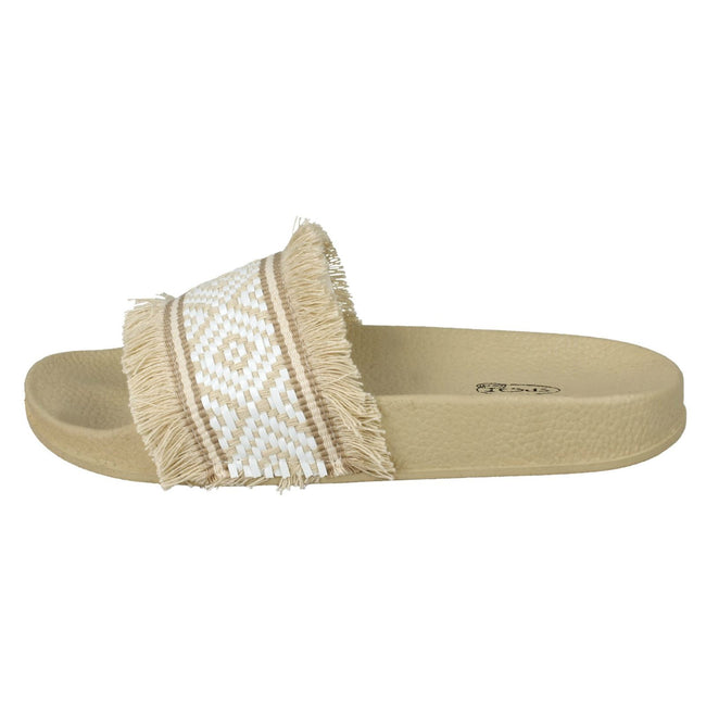 Beige-White Synthetic - Pack Shot - Spot On Womens-Ladies Flat Fringe Trim Mule Sliders