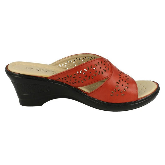Red - Back - Eaze Womens-Ladies Mid Wedge Mules