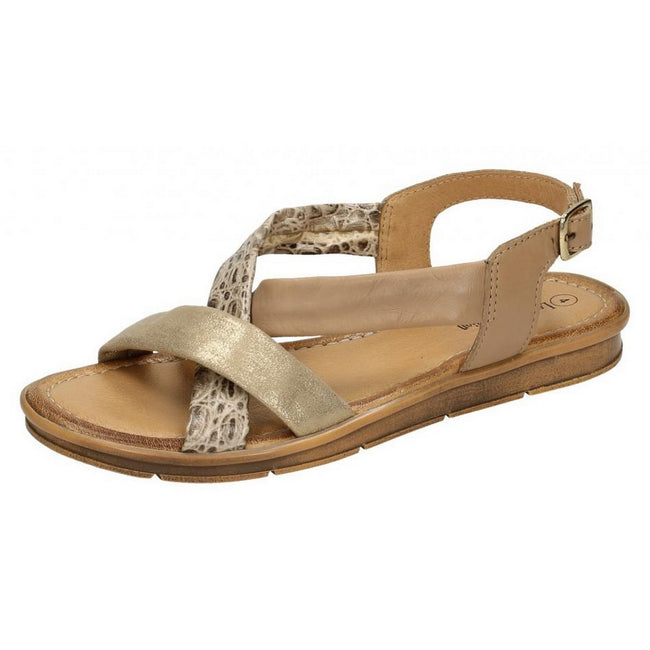 Camel - Front - Leather Collection Womens-Ladies Flat Sling Back Sandals