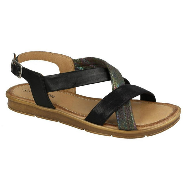 Black - Front - Leather Collection Womens-Ladies Flat Sling Back Sandals