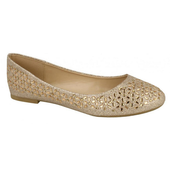 Rose Gold - Pack Shot - Spot On Womens-Ladies Jewelled Ballerinas