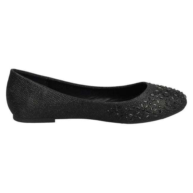 Black - Side - Spot On Womens-Ladies Jewelled Ballerinas