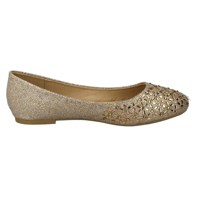 Rose Gold - Side - Spot On Womens-Ladies Jewelled Ballerinas