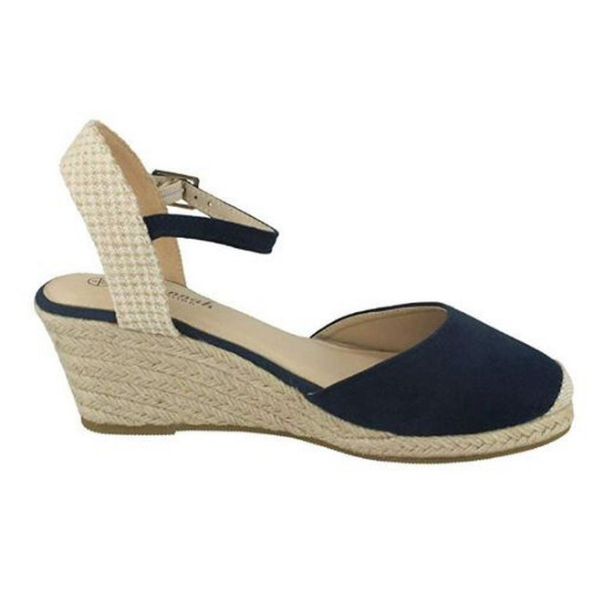 Navy - Back - Savannah Womens-Ladies Ladies Mid Rope Wedge Espadrilles