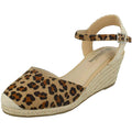 Tan Leopard - Front - Savannah Womens-Ladies Ladies Mid Rope Wedge Espadrilles