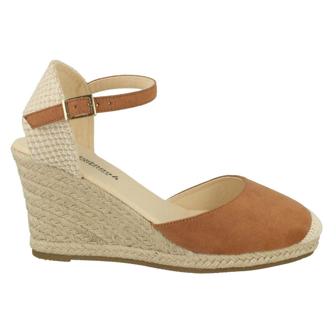 Tan - Lifestyle - Savannah Womens-Ladies High Wedge Espadrilles