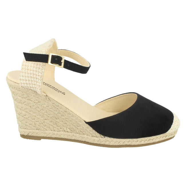 Black - Lifestyle - Savannah Womens-Ladies High Wedge Espadrilles