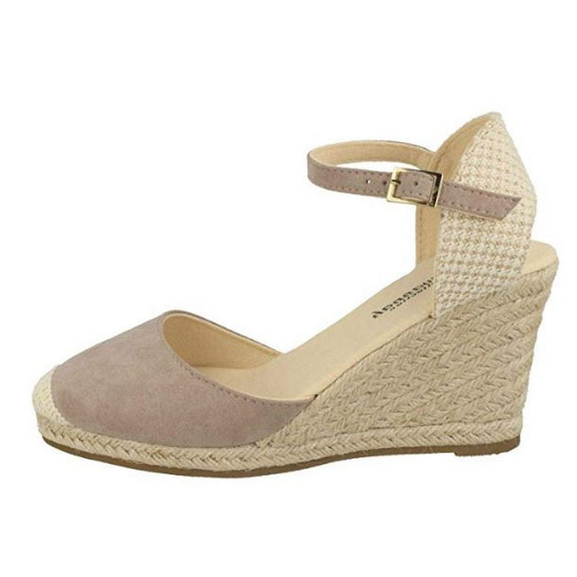 Taupe - Back - Savannah Womens-Ladies High Wedge Espadrilles
