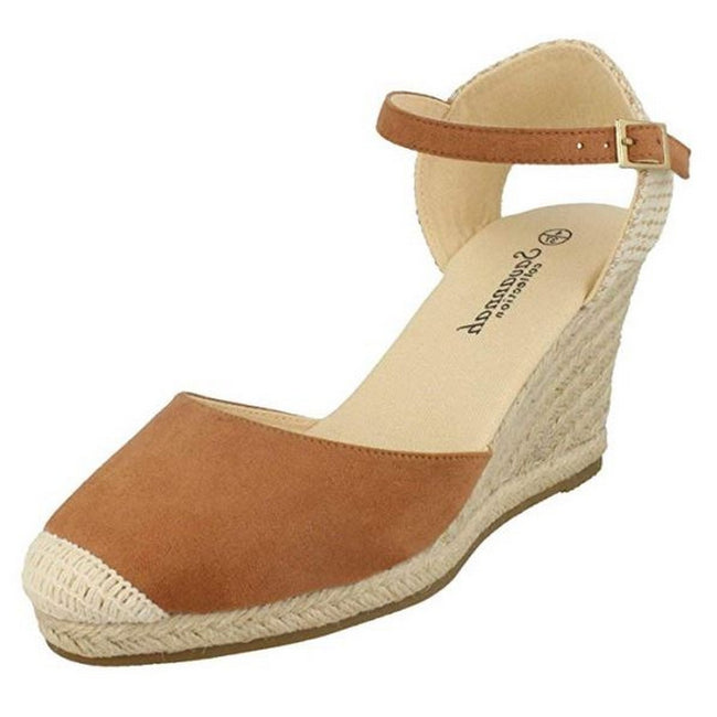 Tan - Front - Savannah Womens-Ladies High Wedge Espadrilles
