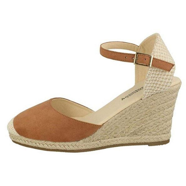 Tan - Back - Savannah Womens-Ladies High Wedge Espadrilles