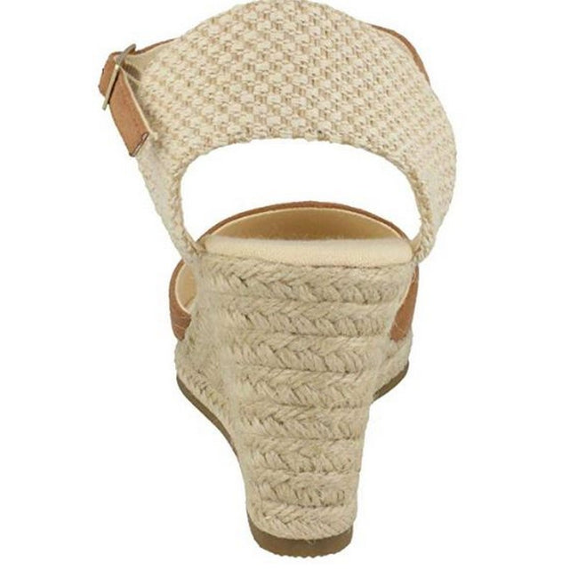 Tan - Side - Savannah Womens-Ladies High Wedge Espadrilles