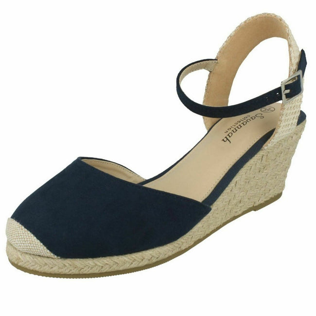 Navy - Front - Savannah Womens-Ladies High Wedge Espadrilles