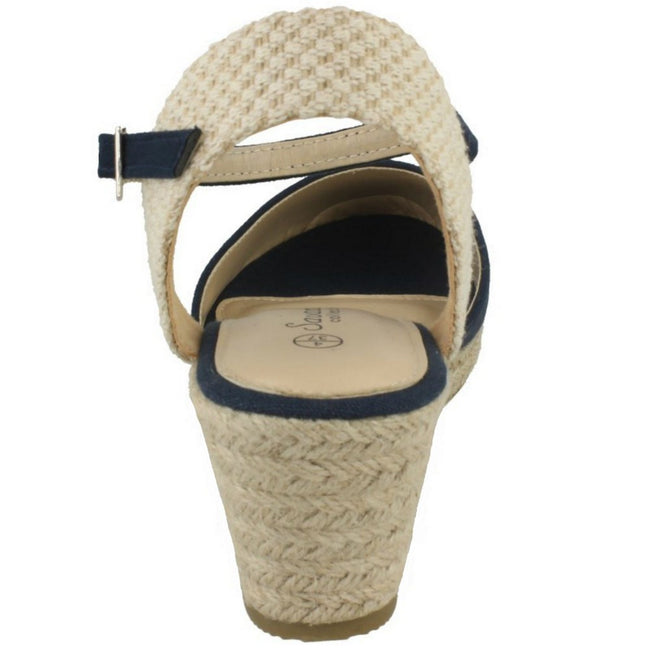 Navy - Side - Savannah Womens-Ladies High Wedge Espadrilles