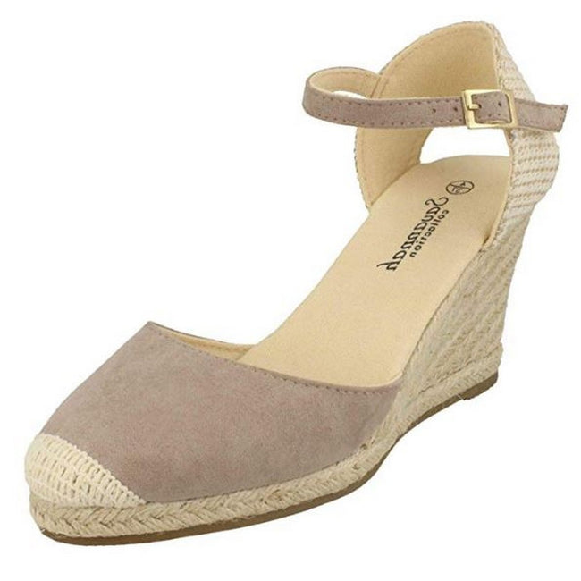 Taupe - Front - Savannah Womens-Ladies High Wedge Espadrilles