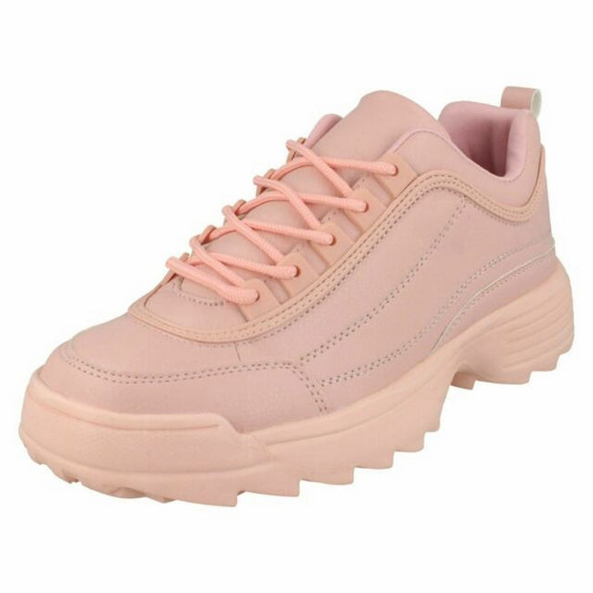 Pink - Front - Reflex Womens-Ladies Lace Up Trainers