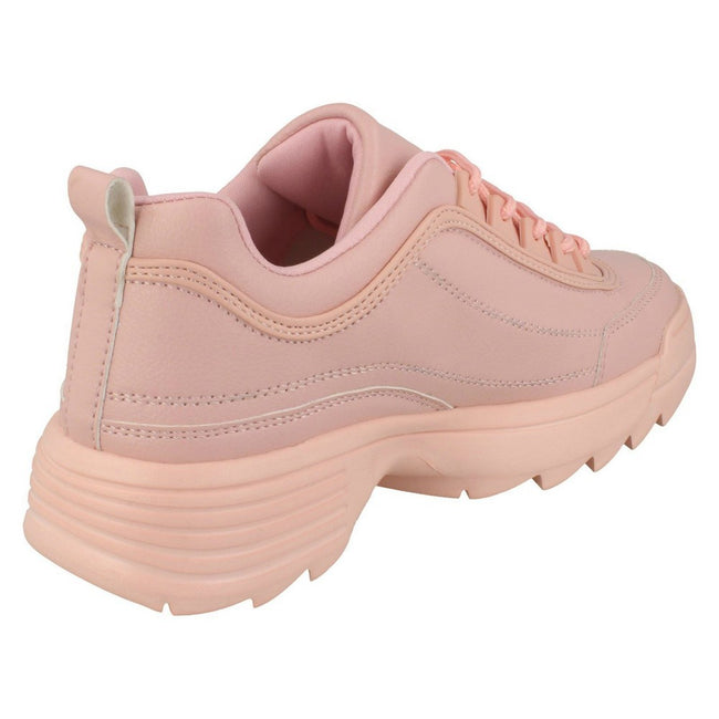 Pink - Back - Reflex Womens-Ladies Lace Up Trainers