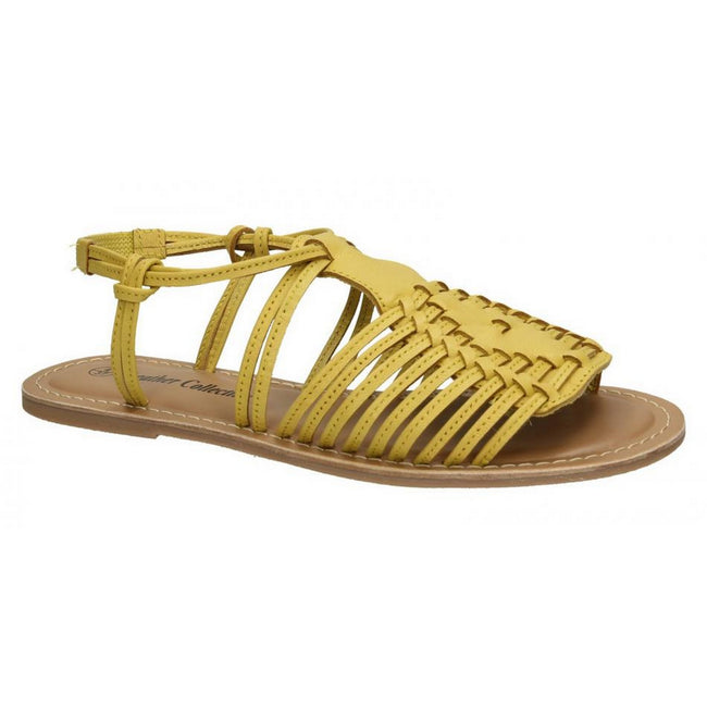 Lemon - Front - Leather Collection Womens-Ladies Leather Flat Strappy Sandals