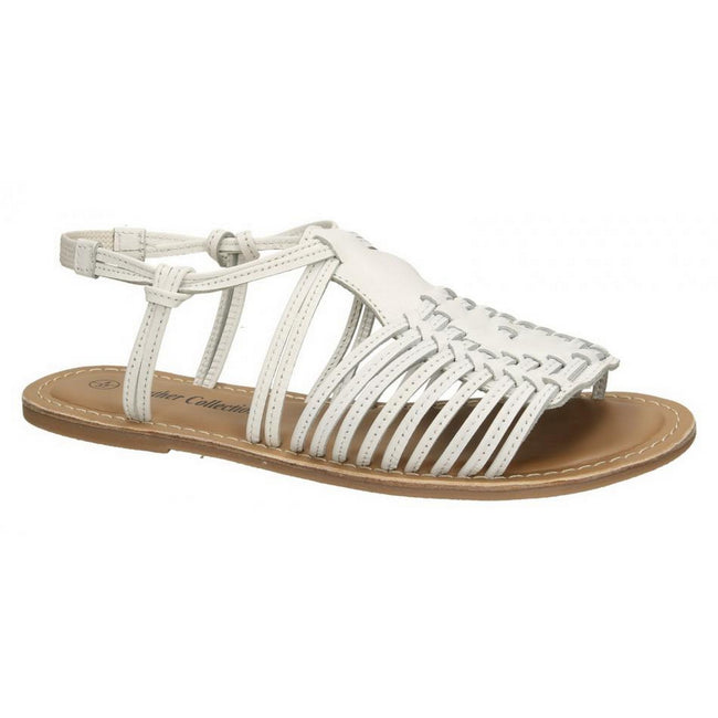 White - Front - Leather Collection Womens-Ladies Leather Flat Strappy Sandals