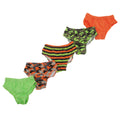 Green-Orange-Brown - Front - Childrens Boys Camouflage Patterned Underwear Briefs (Pack Of 5)