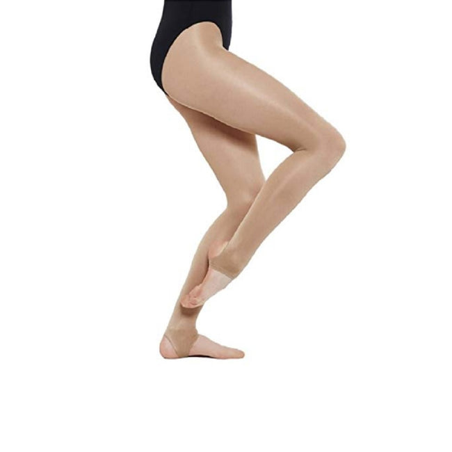 Light Toast - Back - Silky Womens-Ladies Dance Shimmer Stirrup Tights (1 Pair)