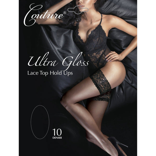 Black - Front - Couture Womens-Ladies Ultra Gloss Lace Top Hold Ups (1 Pair)